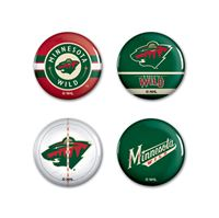 """Picture of Minnesota Wild Button 4 Pack 1 1/4"""" Rnd"""