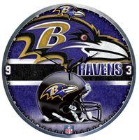 "Picture of Baltimore Ravens Plaque HD Clock 18"" Dia"